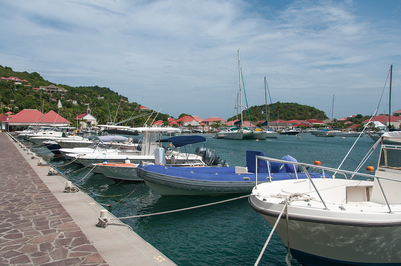 Boats in harbor in the island of St. Bart's