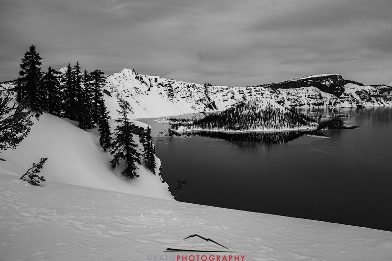 Crater Lake Oregon snow 9 in Black and White