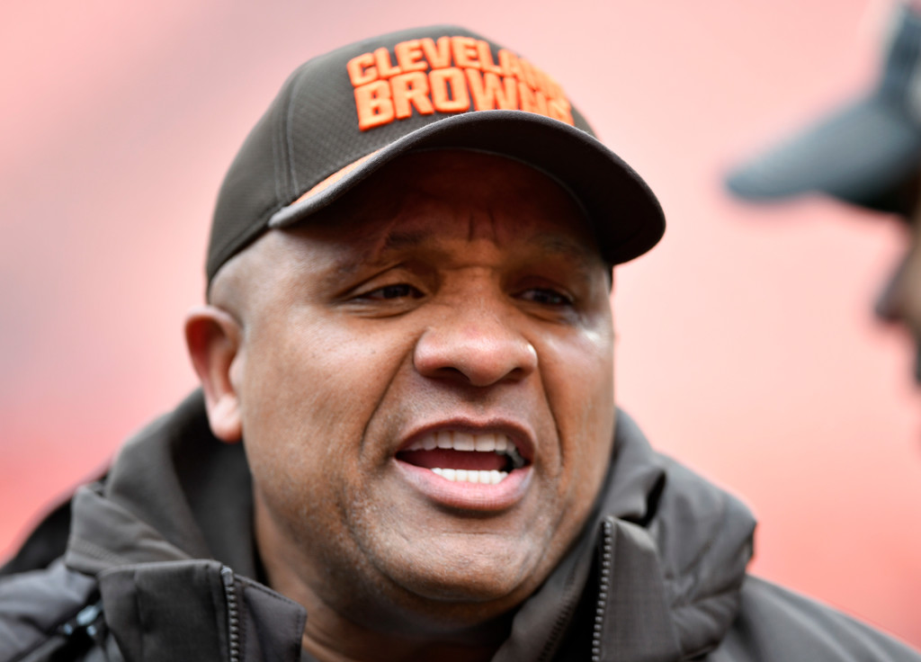 . Cleveland Browns head coach Hue Jackson is shown before an NFL football game between the Baltimore Ravens and the Cleveland Browns, Sunday, Dec. 17, 2017, in Cleveland. (AP Photo/David Richard)