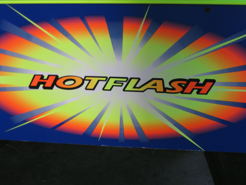 Hot Flash detail on a table hockey game.