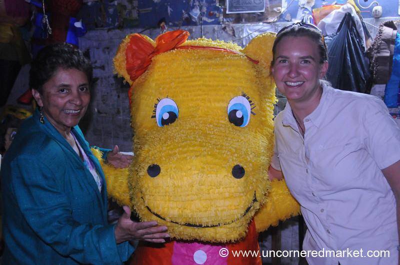 Posing with a Hippo Pinata - Guatemala City, Guatemala