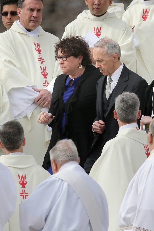 . U.S. Supreme Court Associate Justice Sonia Sotomayor (L) and former Associate Justice David Souter leave the Basilica of the National Shrine of the Immaculate Conception after attending Associate Justice Antonin Scalia\'s funeral February 20, 2016 in Washington, DC. Scalia, who died February 13 while on a hunting trip in Texas, laid in repose in the Great Hall of the Supreme Court on Friday and his funeral service will be at the basilica today.  (Photo by Chip Somodevilla/Getty Images)