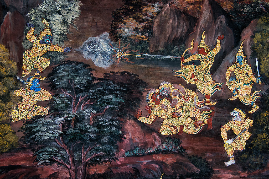 The Ramakien Mural at Wat Phra Kaew Temple, Bangkok
