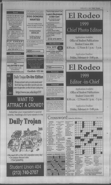 Daily Trojan, Vol. 133, No. 19, February 05, 1998