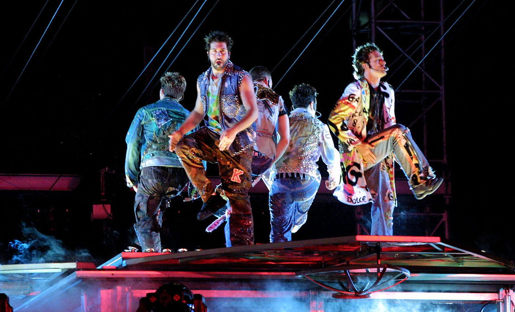 . Members of the band \'N Sync perform at Heinz Field in Pittsburgh, Saturday, Aug. 18, 2001. The show is the first event held at the stadium which will be the new home of the Pittsburgh Steelers.( (AP Photo/Gary Tramontina)
