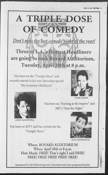 Daily Trojan, Vol. 119, No. 60, April 19, 1993