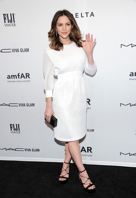 . Actress Katharine McPhee attends amfAR\'s New York gala at Cipriani Wall Street on Wednesday, Feb. 6, 2013 in New York. (Photo by Evan Agostini/Invision/AP)