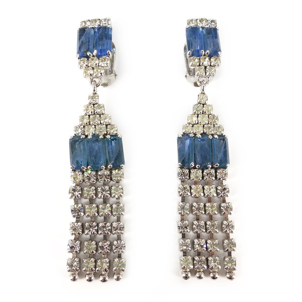 Vintage 1974 Christian Dior Large Blue Glass Rhinestone Clip On Drop Earrings