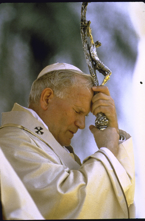 . Pope John Paul II, deep in prayer as he leans on his crosier.  (Photo by Francois Lochon//Time Life Pictures/Getty Images)