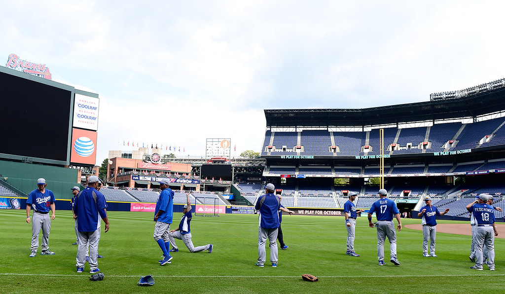 . Los Angeles Dodgers workout Wednesday, October 2, 2013 as they get ready for the first playoff game against the Atlanta Braves Thursday at Turner Field in Atlanta, Georgia. (Photo by Sarah Reingewirtz/Pasadena Star- News)