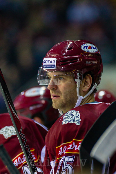 Girts Ankipans (75) during KHL regular championship game between Dinamo Riga and Donbass Donetsk in Arena Riga