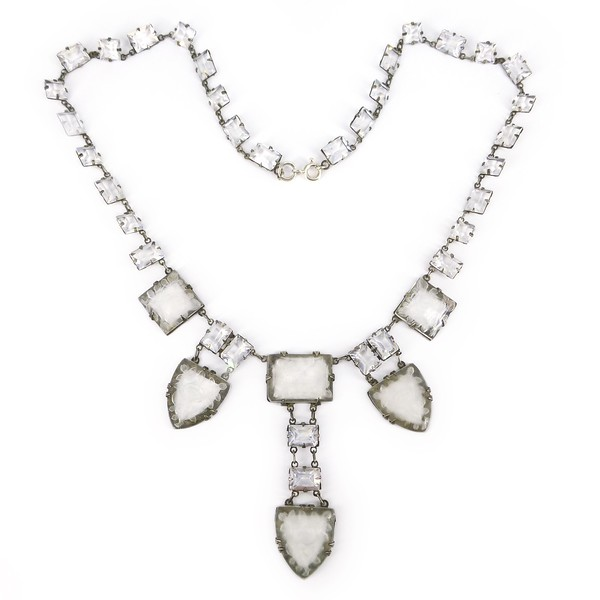 Antique Art Deco Floral Frosted Glass Lalique Inspired Necklace