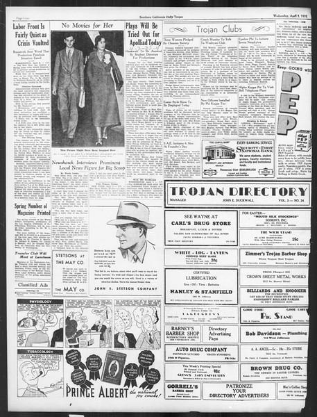 Daily Trojan, Vol. 26, No. 109, April 03, 1935