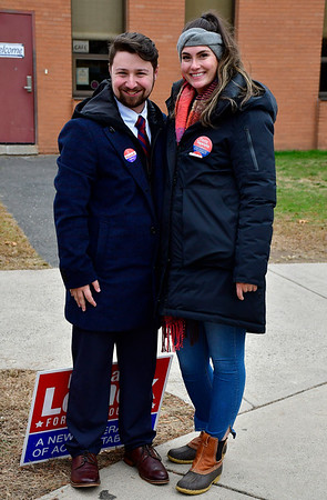11/5/2019 Mike Orazzi | StaffrDante Tagariello and Hannah Lemek while at the South Side School on election day in Bristol.