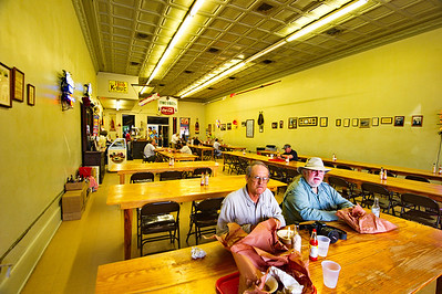 Jay and David having lunch at Smitty's Barbeque, Lockhart, TX