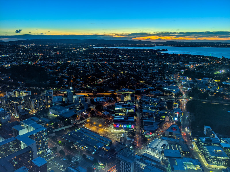 Auckland at night from SkyCity Tower