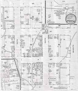 """""""Water Facilities:  Not Good"""" noted the information on this 1885 Sanborn map of early Spearfish.  The population was just 600 people, and the street grids were alphabetized and numbered.  Fortunately, it's an easy task to decipher the location of the """"Spearfish Hotel"""" at Sixth and """"H"""" street, the site at Main (6th St.) and Hudson (H St.) that is now home to Ace Hardware.  Click on the image and choose X3Large to get a closer look at the details on the map. (Spearfish Historic Preservation Commission)"""