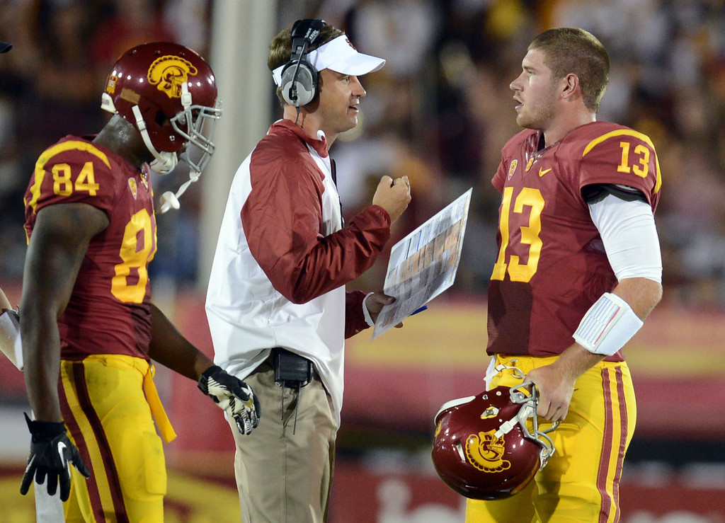 . USC coach Lane Kiffin talks with quarterback Max Wittek #13 during their game against Washington State at the Los Angeles Memorial Coliseum  Saturday, September 7, 2013. Washington State beat USC10-7. (Photo by Hans Gutknecht/Los Angeles Daily News)