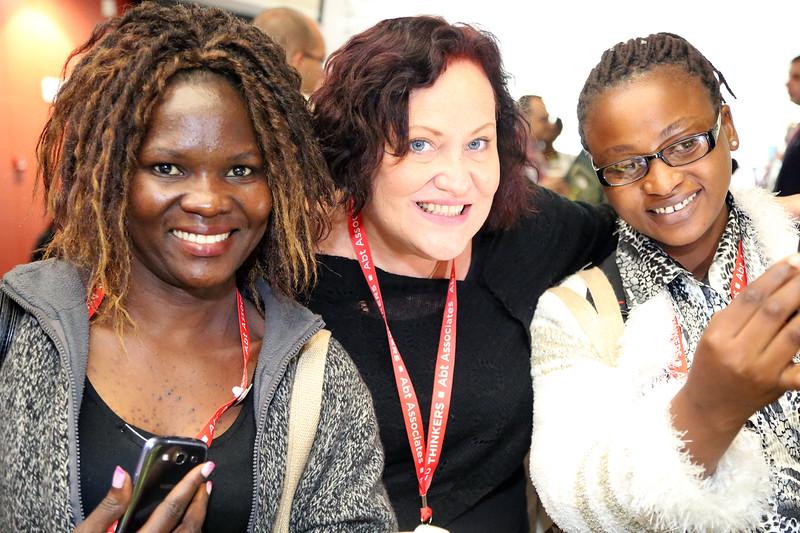 21st International AIDS Conference (AIDS 2016), Durban, South Africa. Irene Amach, Michele Delaforce, Leonard Pastory The Positive Leadership Summit  - Outside Room M22 at Tea Break Photo©International AIDS Society/Abhi Indrarajan