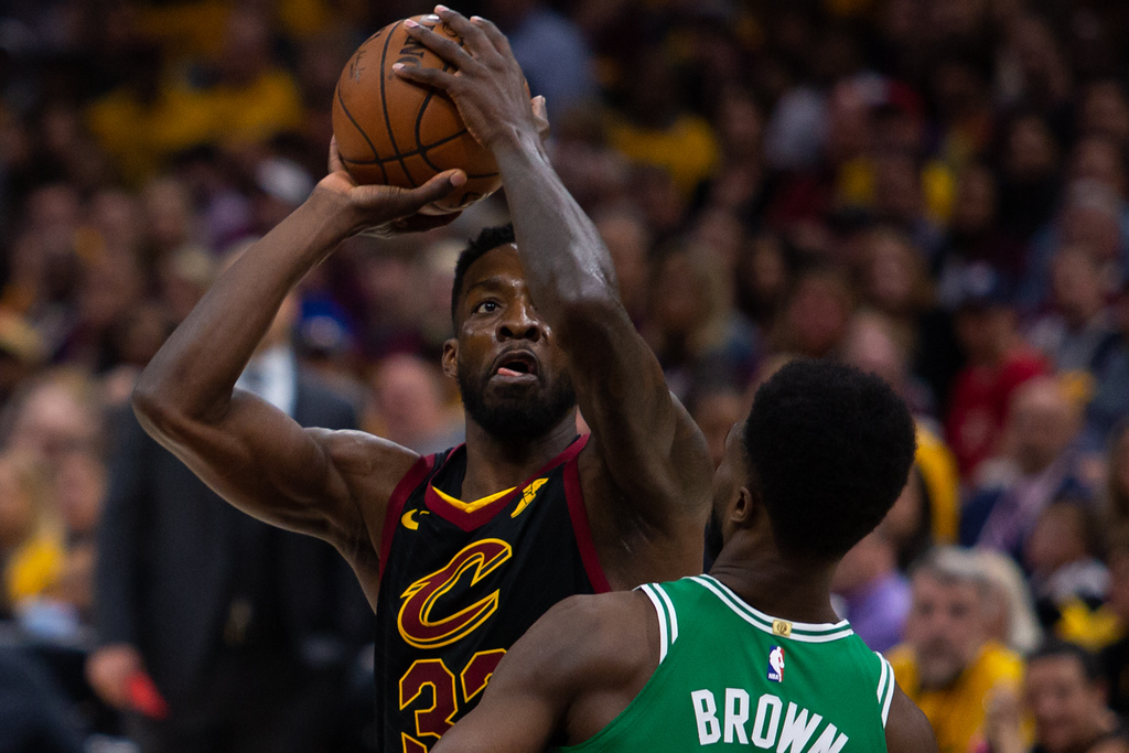 . Michael Johnson - The News-Herald Jeff Green of the Cleveland Cavaliers goes up for a shot against Jaylen Brown of the Celtics.