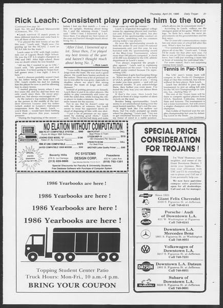 Daily Trojan, Vol. 100, No. 67, April 24, 1986