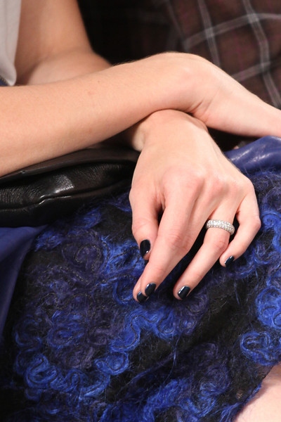 NEW YORK, NY - SEPTEMBER 07:  Actress / singer Mandy Moore (ring detail) attends Billy Reid's spring 2013 fashion show during Mercedes-Benz Fashion Week at Eyebeam on September 7, 2012 in New York City.  (Photo by Chelsea Lauren/Getty Images)