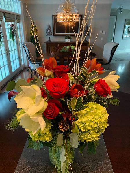 Faith's amazing fresh floral centerpiece beautifies a kitchen island.