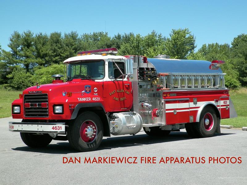 EAST ALLEN TOWNSHIP FIRE DEPT. TANKER 4631 1991 MACK/4GUYS TANKER