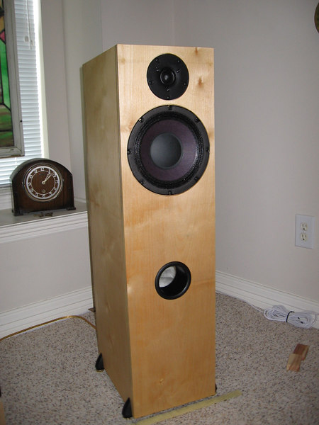 "The latest version of the Studio One Pi tower, using the standard One Pi kit in a 2 cu ft enclosure tuned to 49hz. The enclosure is 9.5"" wide, 12.5"" deep, by 36"" high. The enclosure is made from 11 ply baltic birch veneer plywood. CLICK ON PICTURE TO ENLARGE"