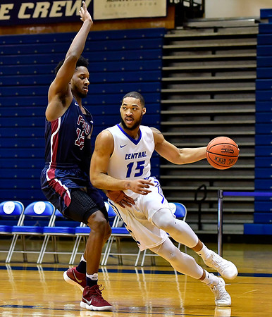 3/2/2019 Mike Orazzi | Staff CCSU'sJamir Coleman (15) during Saturday's Mens basketball game with Fairleigh Dickinson in New Britain.