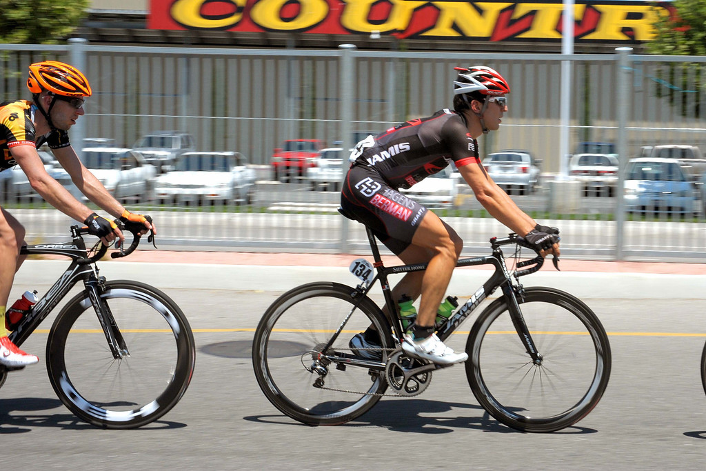 . Ben Jacques-Maynes, a UC Santa Cruz alum, in the breakaway in Stage 2. (Robert Torre/Special to the Sentinel)