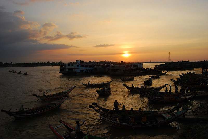 Yangon River at Sunset Myanmar.jpg
