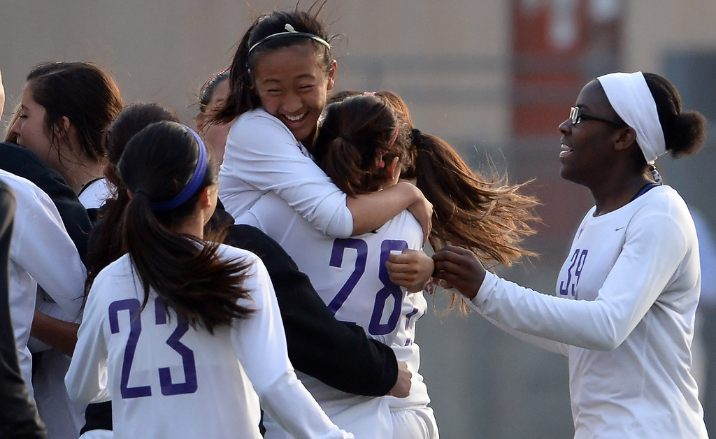 . Diamond Bar reacts after defeating Bishop Amat 3-2 during a CIF-SS second round prep playoff soccer match at Diamond Bar High School in Diamond Bar, Calif., on Wednesday, Feb.26, 2014. (Keith Birmingham Pasadena Star-News)