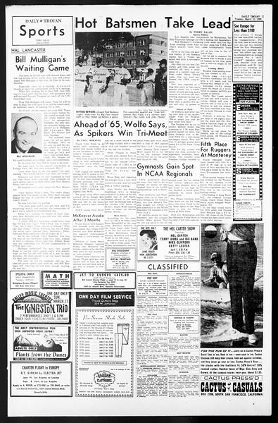 Daily Trojan, Vol. 57, No. 91, March 22, 1966