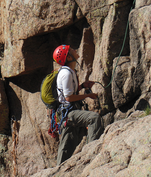 """Marja belaying Dave on his lead of P1.  Note for new lead belayers - look at the slight slack in the rope past Marja's guide hand.  That's the perfect form to prevent """"short roping"""" your leader."""