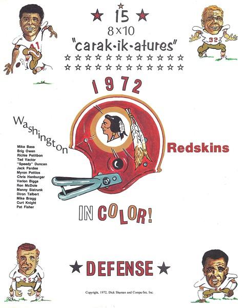 1972 Compu-Set Redskins Defense Header