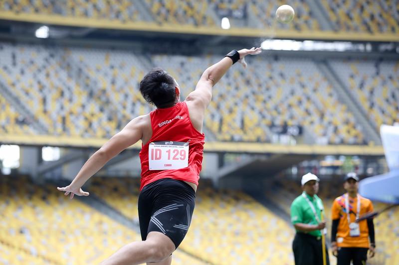 PARA ATHLETICS - CHUA ZHENG SHUANG IVAN in action & representing Singapore in Men Shotput Finals (7.26 kg, F20)  at Bukit Jalil National Stadium, KL on September 21th, 2017 (Photo by Sanketa Anand)