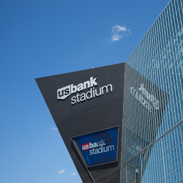 Low angle view of the U.S. Bank Stadium, Minneapolis, Hennepin County, Minnesota, USA