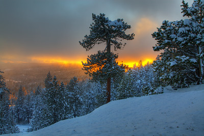 Fiery sunset at Tahoe, CA