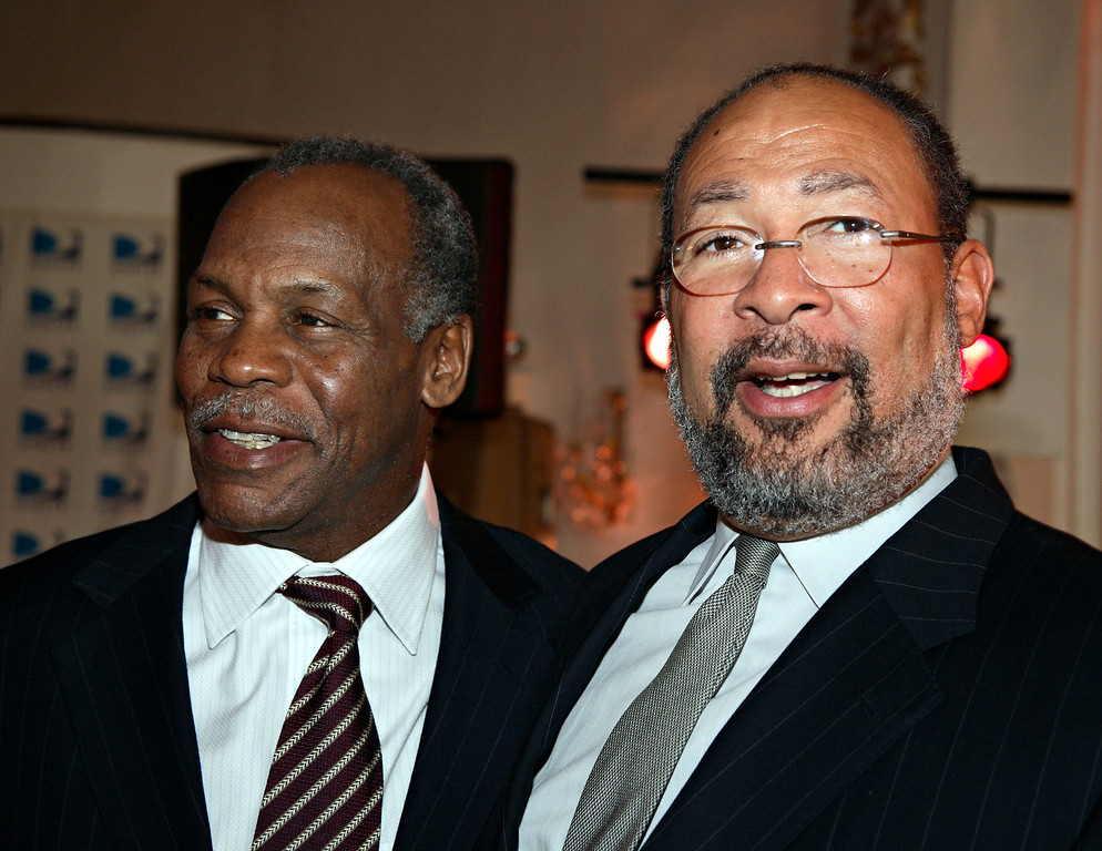 . In this photo released by the Jazz Foundation of America, actor Danny Glover, left, and Chairman and CEO of Time Warner, Inc., Richard Parsons, attend a reception dinner for the 5th Annual \'Great Night in Harlem\' concert in the Harlem neighborhood of the Manhattan borough of  New York, Thursday, May 5, 2006.  (AP Photo/ Jazz Foundation of America, Adam Rountree)