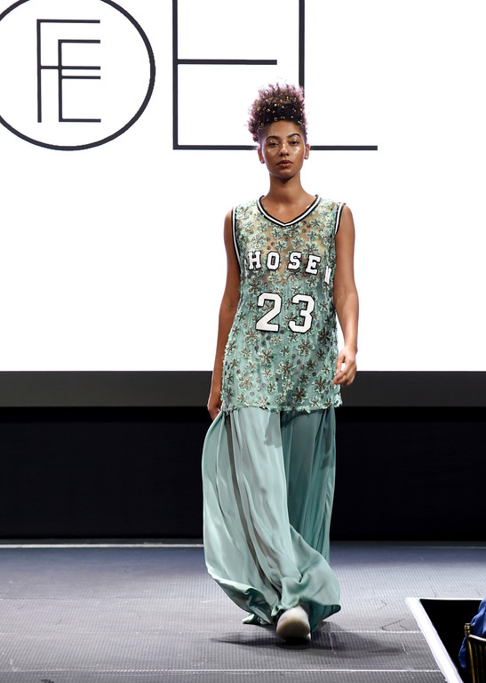. The Fe Noel collection is modeled at the Harlem Fashion Row show and awards ceremony before the start of New York Fashion Week, Tuesday, Sept. 4, 2018. (AP Photo/Diane Bondareff)