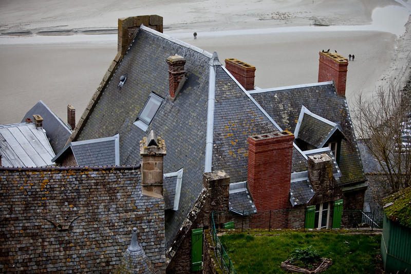 The rooftops of the town below the abbey at Mont St Michel are fascinating