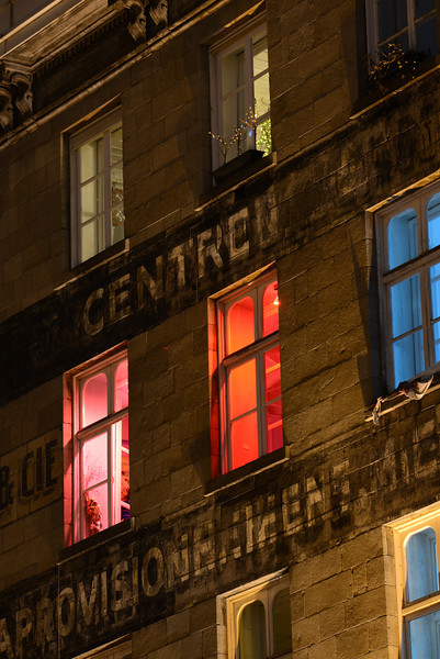 Colored Windows for New Years, Montreal's Old Port
