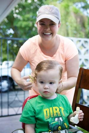 Luc's first haircut