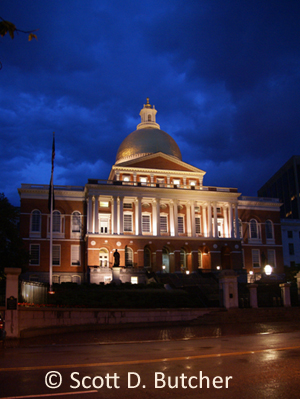 Mass. State House at Night by Scott D. Butcher