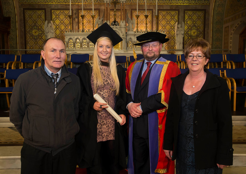 03/01/2013. Repro Free. Waterford Institute of Technology Conferring.  Pictured is Laura Corcoran, Portlaw who graduated Bachelor of Business (Hons). Also pictured are Mark Corcoran, Dr. Derek O'Byrne, Registrar of Waterford Institute of Technology (WIT) and Caroline Corcoran. Picture: Patrick Browne.