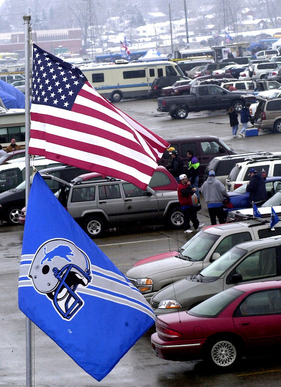 . Fans tailgate in the parking lot of the Pontiac Silverdome prior to the start of Sunday\'s game against the Dallas Cowboys at the Pontiac Silverdome. The Lions won 15-10 over Dallas to end the season and their final game played at the Silverdome.