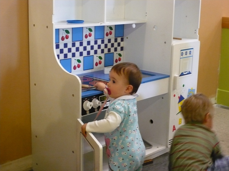 """Leela's first trip to the """"big kids"""" play area at Third Place Books"""