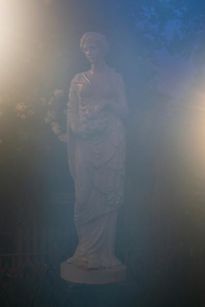 Houmas House statue shot through fogged lens