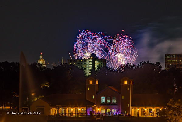 Civic Center Fireworks From City Park 2015